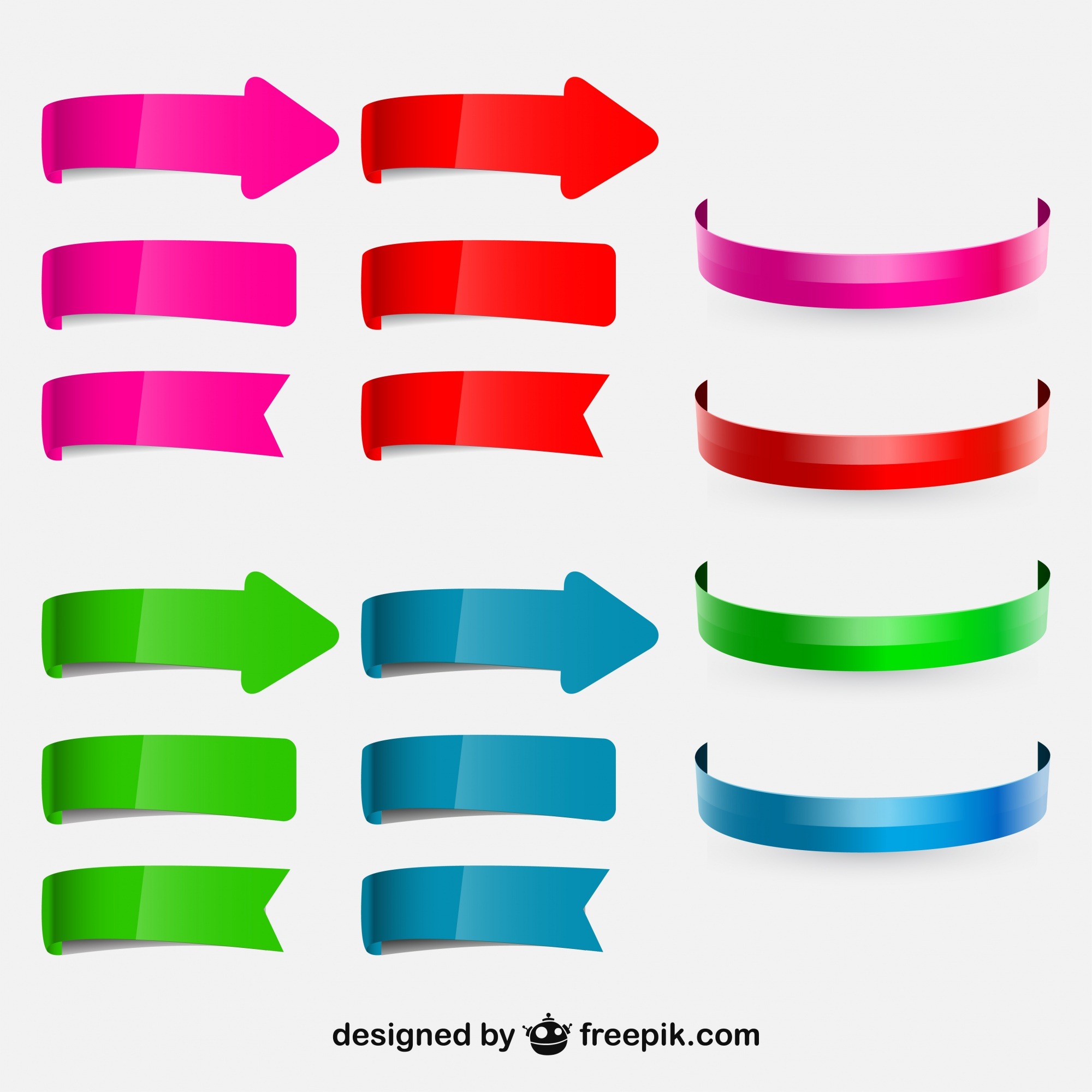 Colorful Circular Arrows and Ribbons Set