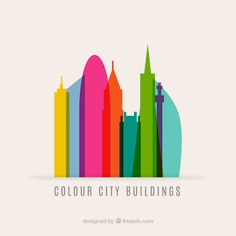Colorful city buildings