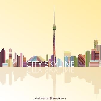 Colorful city skyline