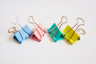 Colorful clips on white