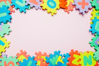 Colorful composition of kid puzzle