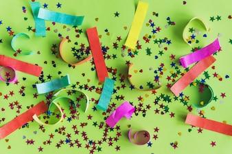 Colorful confetti with colored paper strips