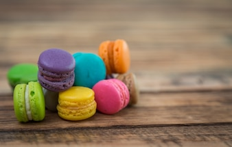 Colorful cookies on a wooden table