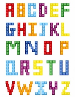colorful crystal block alphabet