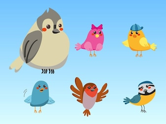 Colorful Cute cartoon birds vector