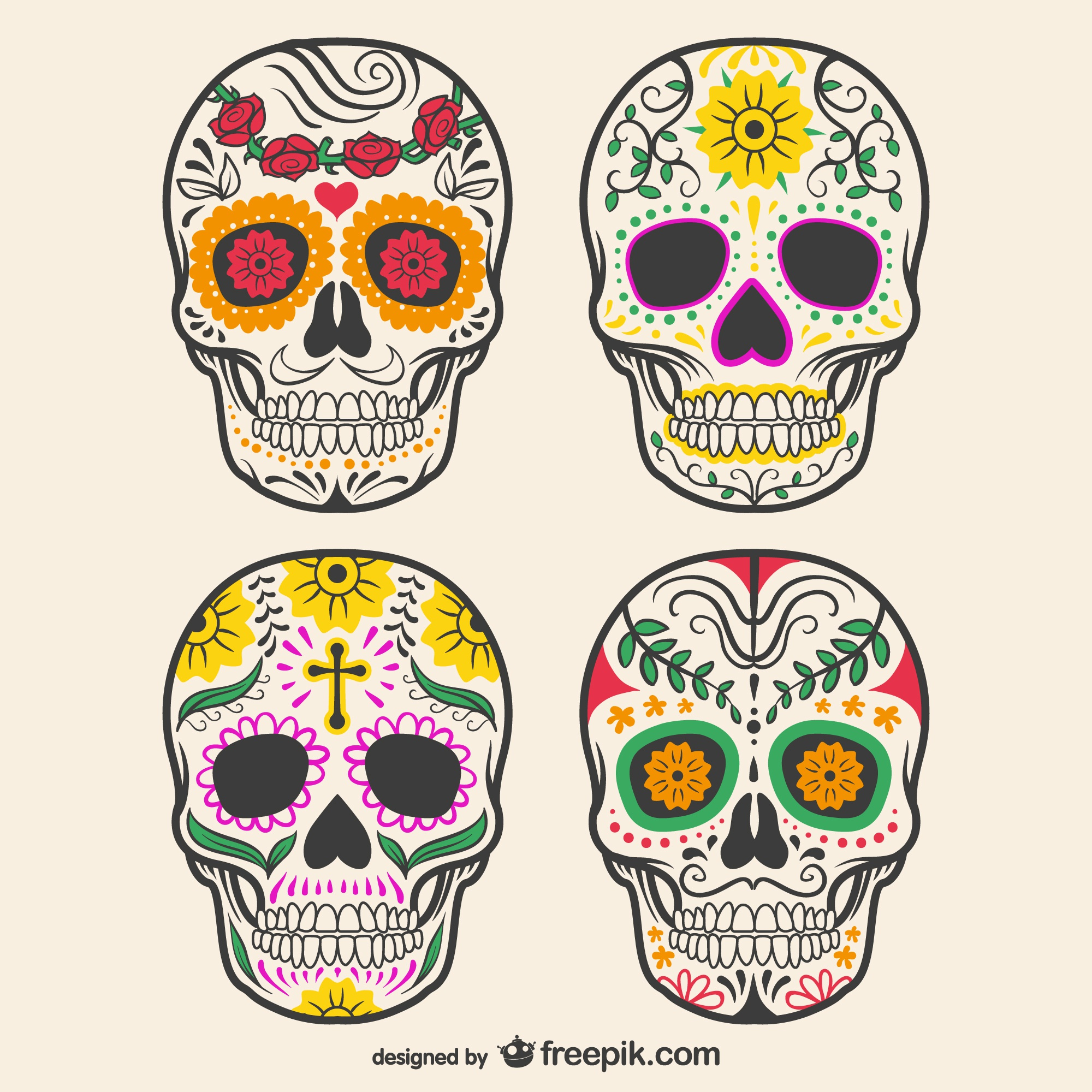 Colorful decorated skulls