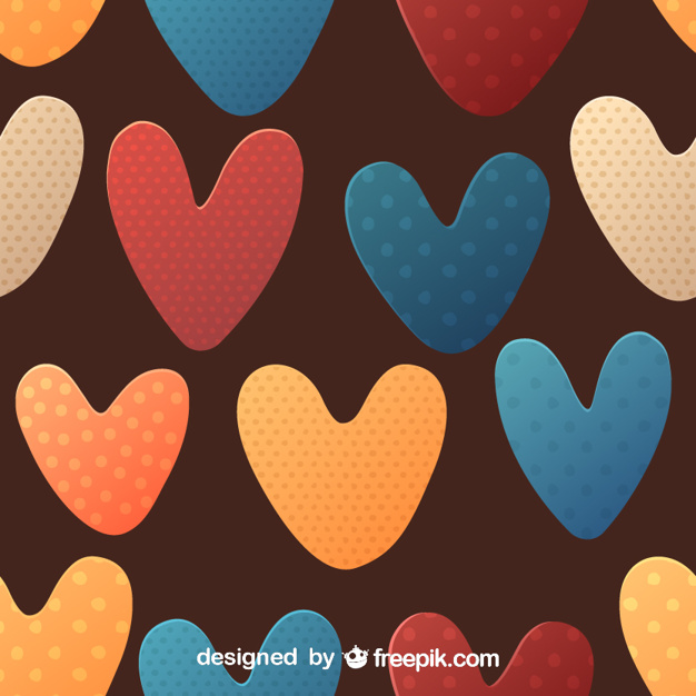 Colorful Dotted Heart Seamless Pattern