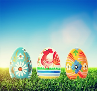 Colorful easter eggs on the grass