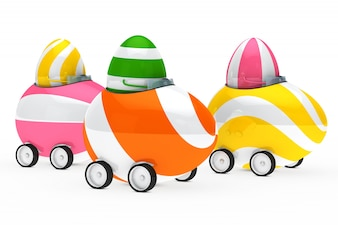 Colorful eggs driving