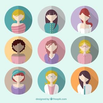 Colorful female avatars