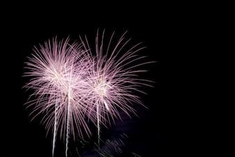 夜空でのカラフルな花火
