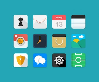 Colorful flat icons PSD