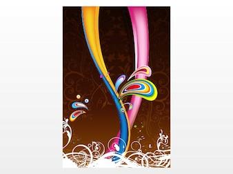 色鮮やかな花模様ポスターテンプレートベクトル