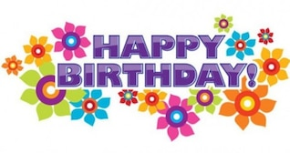 Colorful flowers happy birthday banner