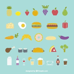 Colorful food icons