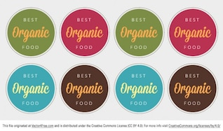 Colorful food label badges