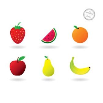 Colorful fruit icon set