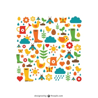 Colorful gardening elements