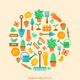 Colorful gardening icons