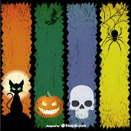 Colorful Halloween banners set