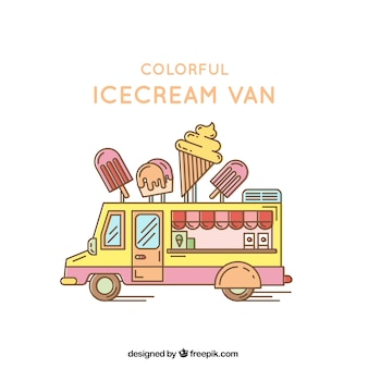 Colorful ice cream van