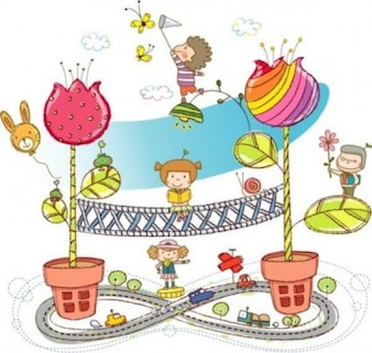 Colorful illustration with childrens and flowers