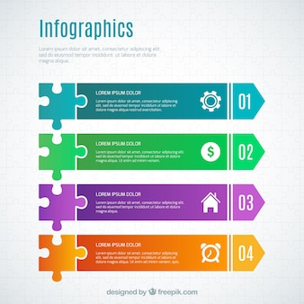 Colorful infographic with puzzle pieces