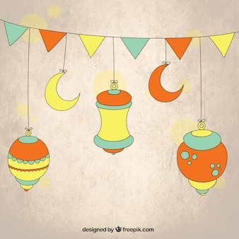 Colorful lanterns and bunting