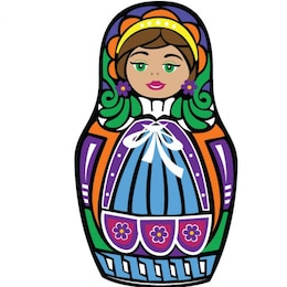 Colorful Matryoshka doll graphic illustration