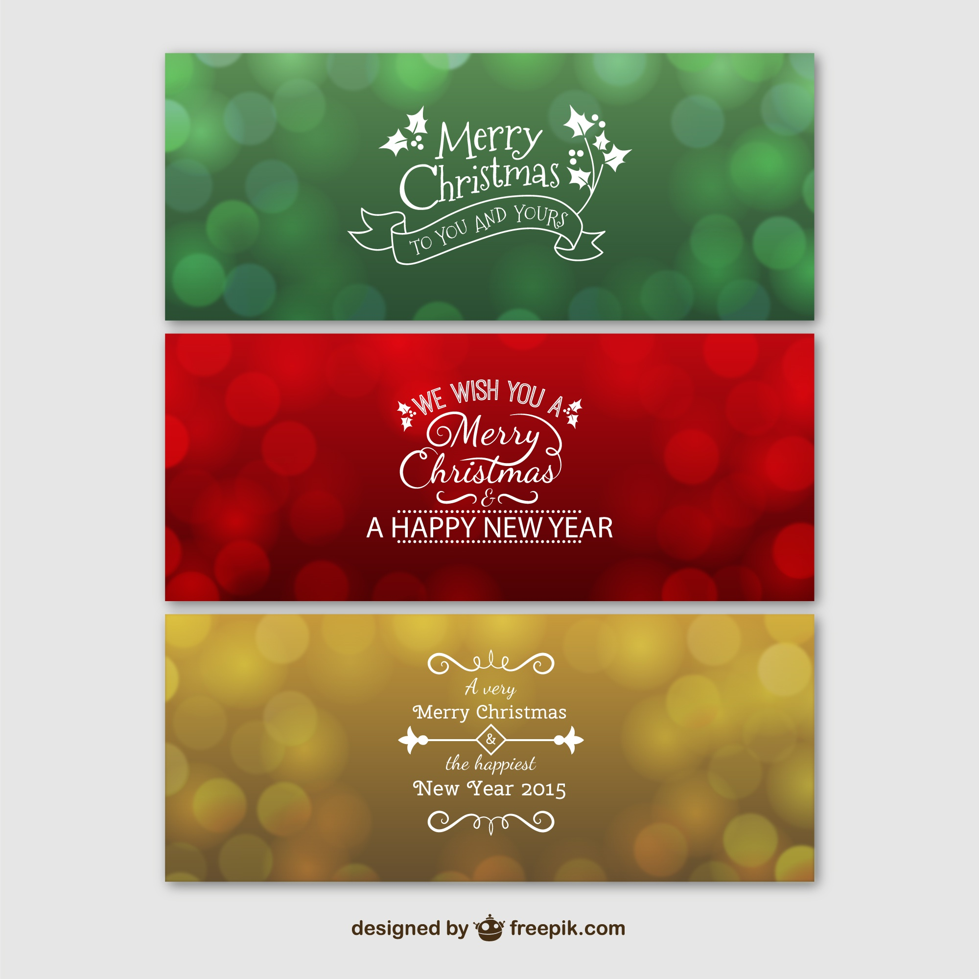 Colorful merry Christmas banners