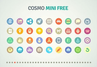 Colorful mini icons PSD