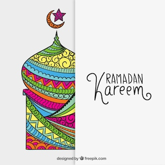 Colorful mosque for Ramadan Kareem