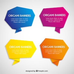 Colorful origami banners collection