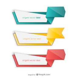Colorful origami vector label pack