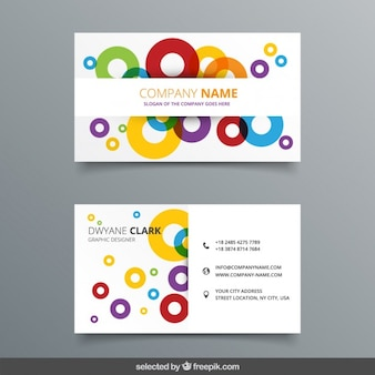 Colorful outlines circles business card