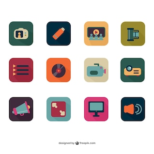 Colorful photo and video flat icons