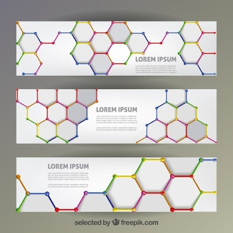 Colorful polygons banners