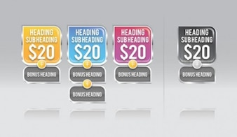 Colorful price points vector tags set