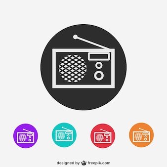 Colorful radio icons
