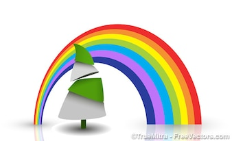Colorful rainbow on christmas tree background