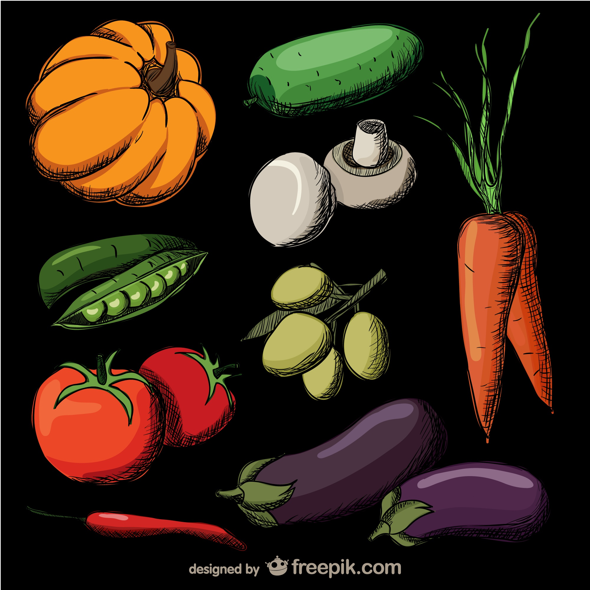 colorful realistic hand drawn vegetables