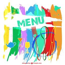 Colorful restaurant menu