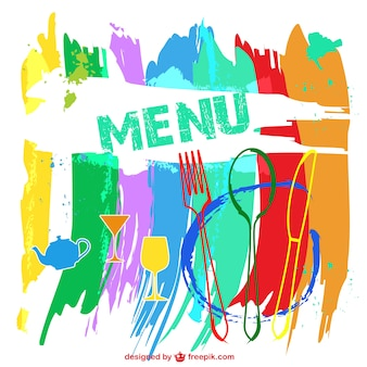 Colorful restaurant menu