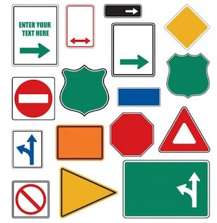 Colorful road signs shapes
