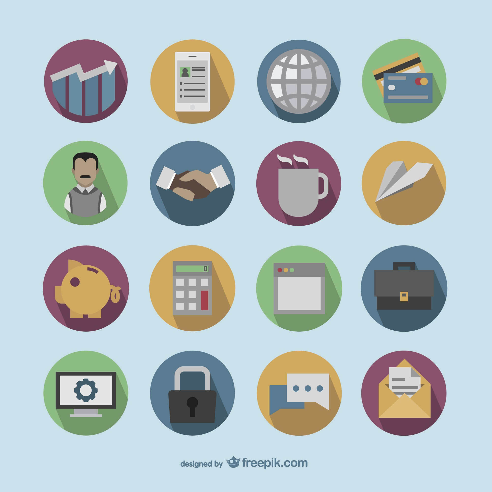 Colorful round business icons