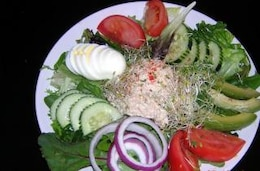 Colorful salads, boiledeggs