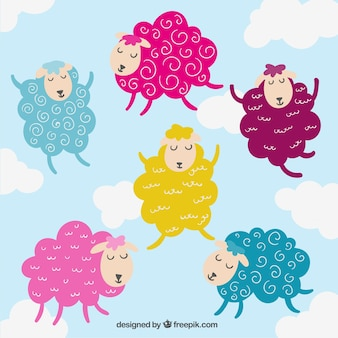 Colorful sheeps illustration