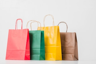 Colorful shopping paper packets