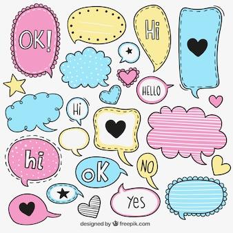 Colorful sketchy speech bubbles