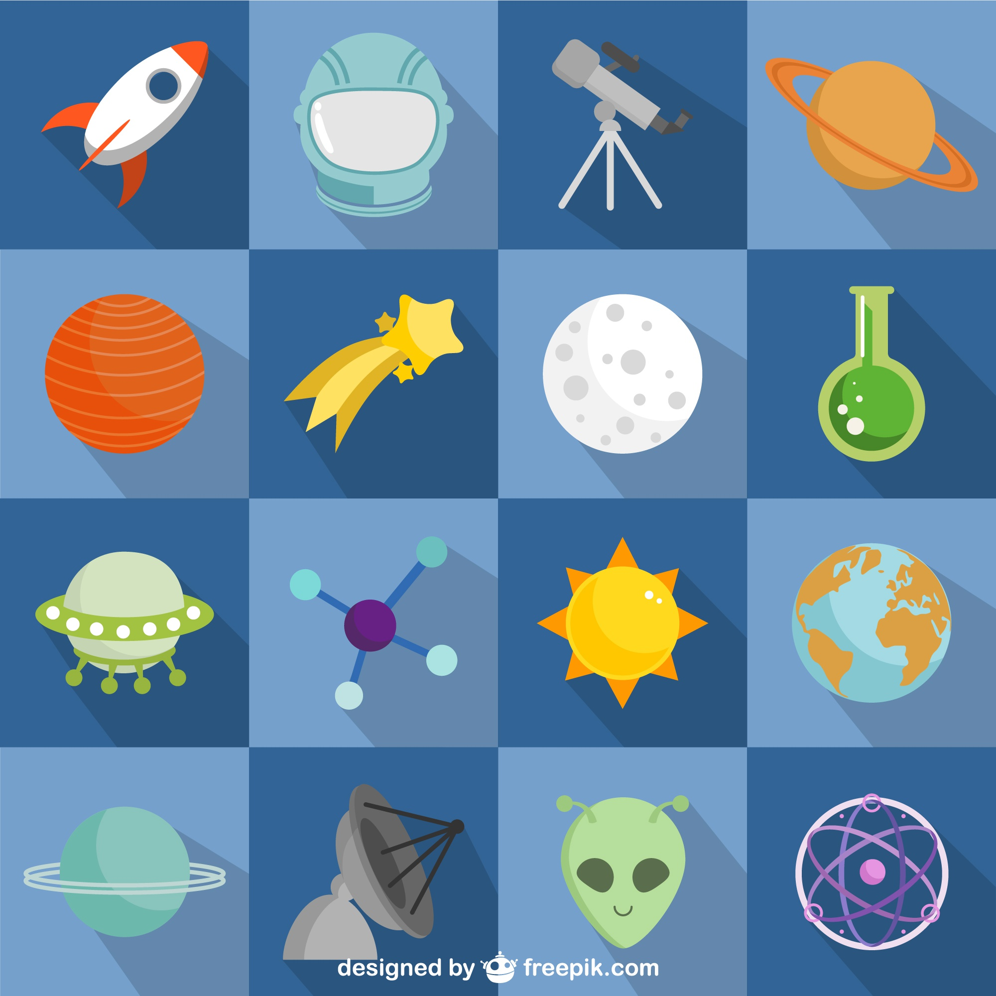 Colorful space and astronauts flat icons
